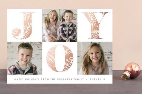 Decorated Joy Foil-Pressed Holiday Cards
