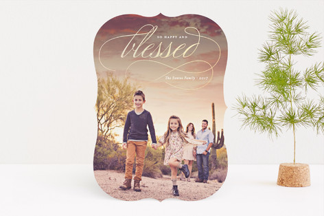 Happy & Blessed Foil-Pressed Holiday Cards