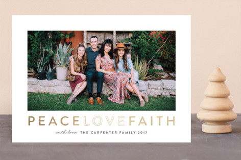 Peace Love Faith Foil-Pressed Holiday Cards