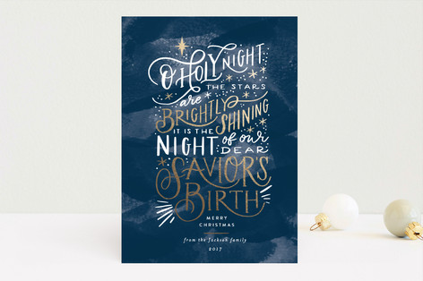 Oh Holy Night Sky Foil-Pressed Holiday Cards