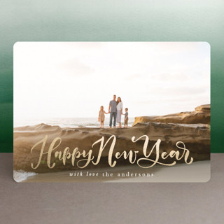 Happily Scripted Foil-Pressed Holiday Cards
