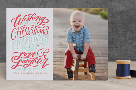 A Christmas of Love & Laughter Letterpress Holiday Photo Cards