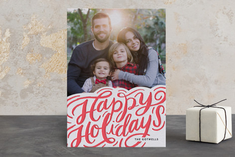 Boldly Scripted Letterpress Holiday Photo Cards