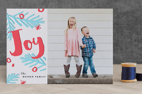 Bright Pine Letterpress Holiday Photo Cards