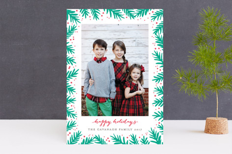 Festive Pine Frame Letterpress Holiday Photo Cards