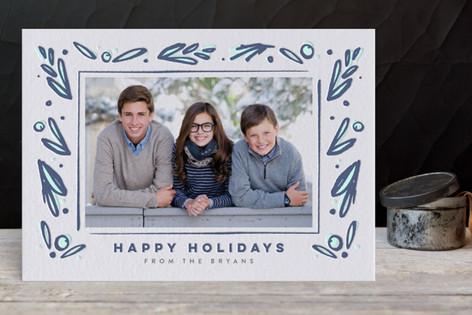 Framed Florals Letterpress Holiday Photo Cards