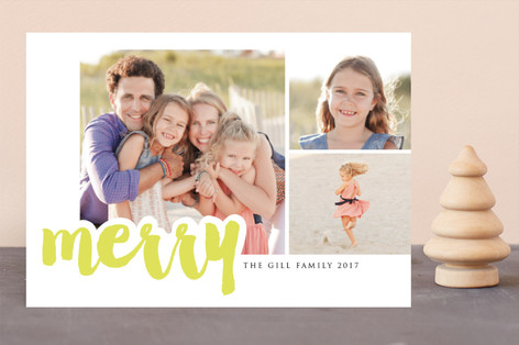 multi merry Letterpress Holiday Photo Cards