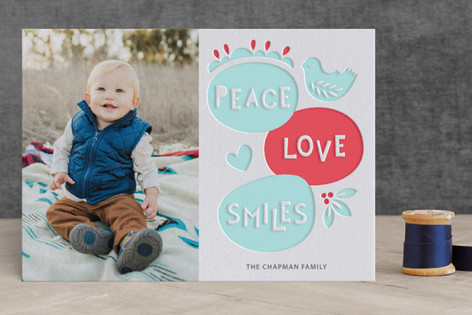 Peace Love Smiles Letterpress Holiday Photo Cards