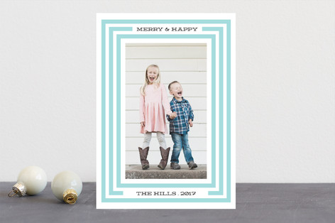 Merry Happy Border Letterpress Holiday Photo Cards