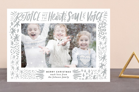 Rejoice with Heart and Soul and Voice Exuberance Letterpress Holiday Photo Cards
