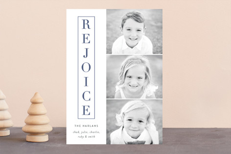 classic rejoice Letterpress Holiday Photo Cards