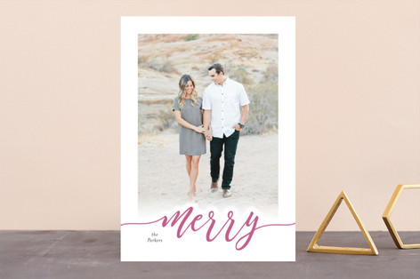 merry scripted card Letterpress Holiday Photo Cards
