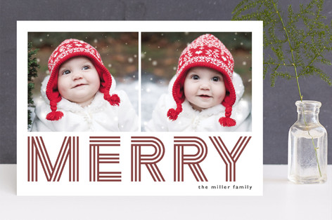 Geo Merry Letterpress Holiday Photo Cards