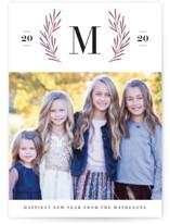 Gilded Wreath Monogram Letterpress Holiday Photo Cards