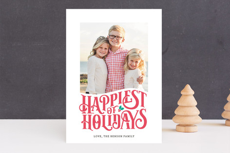Happy Holly Letterpress Holiday Photo Cards