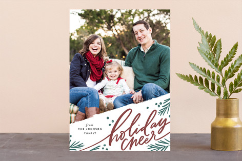 Holiday Pine Branch Cheer Letterpress Holiday Photo Cards