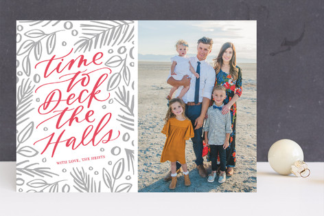 Time to Deck the Halls Letterpress Holiday Photo Cards