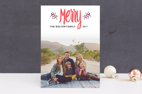Whimsical Branches Letterpress Holiday Photo Cards