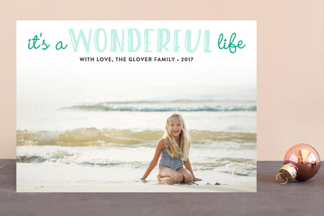 Life Is Wonderful Letterpress Holiday Photo Cards