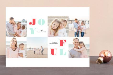 Joyful Squares Letterpress Holiday Photo Cards