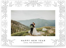 dotted line snowflakes Letterpress Holiday Photo Cards