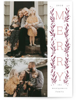 Vertical Boughs Letterpress Holiday Photo Cards