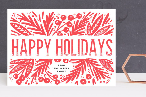 Bold Branches and Berries Letterpress Holiday Photo Cards