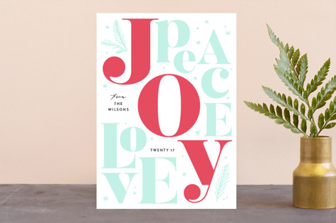 Joy Peace Love Letterpress Holiday Photo Cards