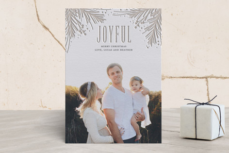 Pressed Pine Letterpress Holiday Photo Cards