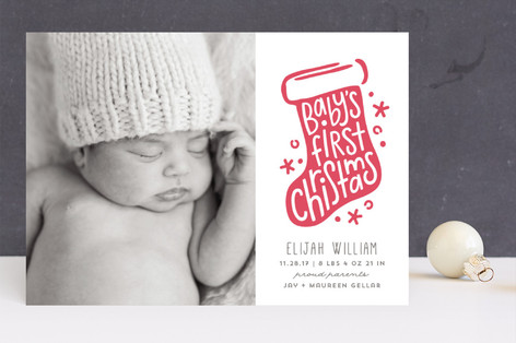 Baby's First Stocking Letterpress Holiday Photo Cards