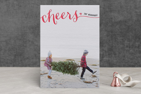 Be Merry Script Letterpress Holiday Photo Cards