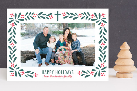 Florals and Berries Letterpress Holiday Photo Cards