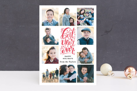 Best Year Ever Script Letterpress Holiday Photo Cards