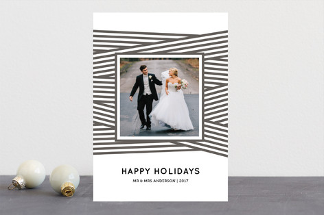 Ribbon Wrapped Letterpress Holiday Photo Cards