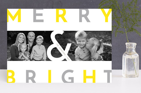 Modern Merry & Bright Letterpress Holiday Photo Cards