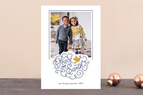Peaceful Holiday Letterpress Holiday Photo Cards