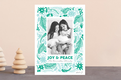 Winter Flurry Letterpress Holiday Photo Cards