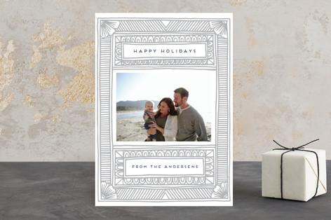 Pressed Border Letterpress Holiday Photo Cards
