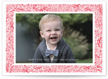 Floral Frame Letterpress Holiday Photo Cards