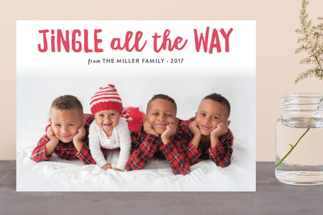 Jingle All the Way Letterpress Holiday Photo Cards