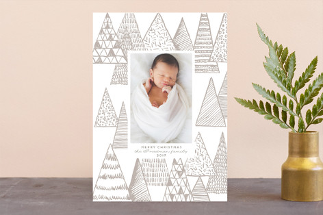 Abstract Christmas trees Letterpress Holiday Photo Cards