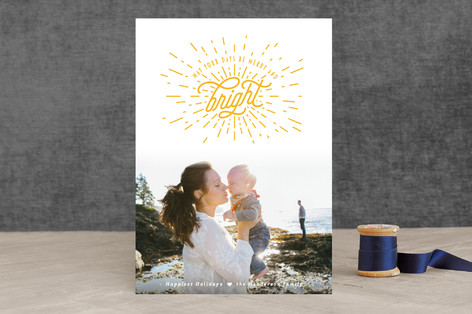 Bright Starburst Letterpress Holiday Photo Cards