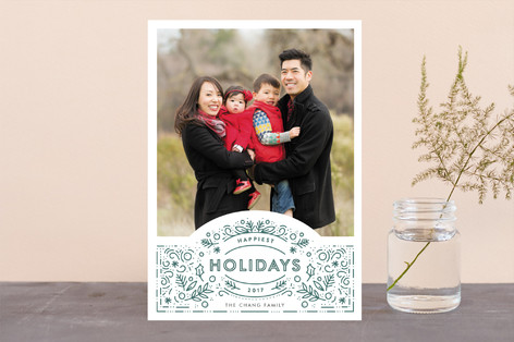 Decorated Frame Letterpress Holiday Photo Cards