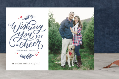 Wishing You Joy and Cheer Letterpress Holiday Photo Cards