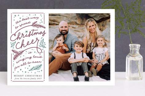 spreading christmas cheer Letterpress Holiday Photo Cards