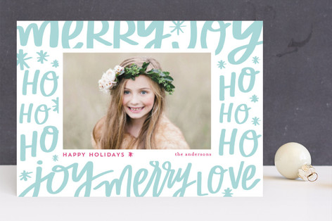Holiday Lettering Letterpress Holiday Photo Cards