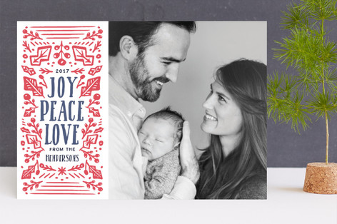 woodcut greetings Letterpress Holiday Photo Cards