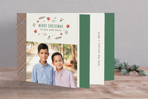 Poinsettias & Pine Cones Holiday Minibook™ Cards