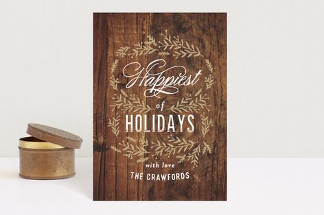 Vintage Woodgrain Holiday Petite Cards
