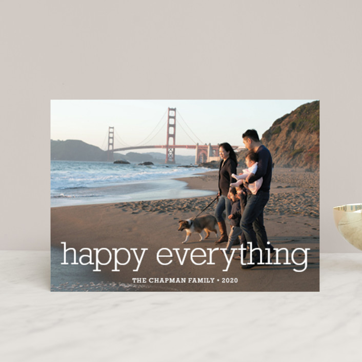 """Happy Everything"" - Simple, Modern Holiday Petite Cards in Snow by annie clark."